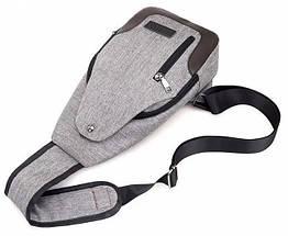 Сумка слинг через плечо серая мужская (Cross body) 1113559863, фото 2