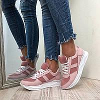 Женские кросовки из натуральной кожи и замши на низком ходу
