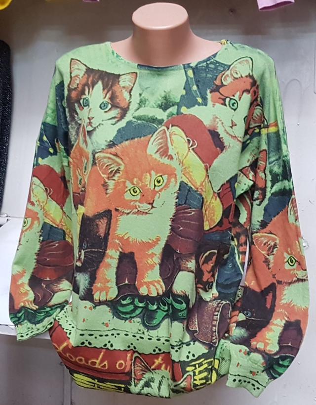 картинка кашемировая женская кофта с котами