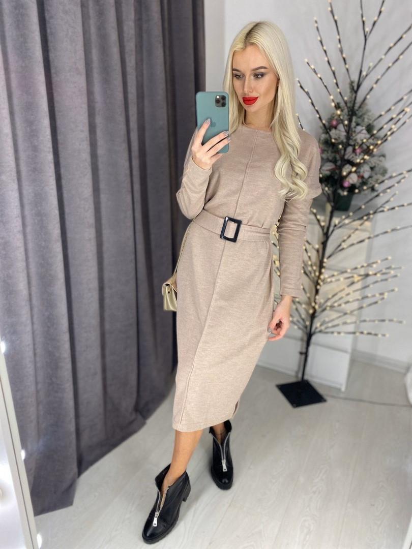 Женское ангоровое платье миди с боковыми разрезами р. 42-46