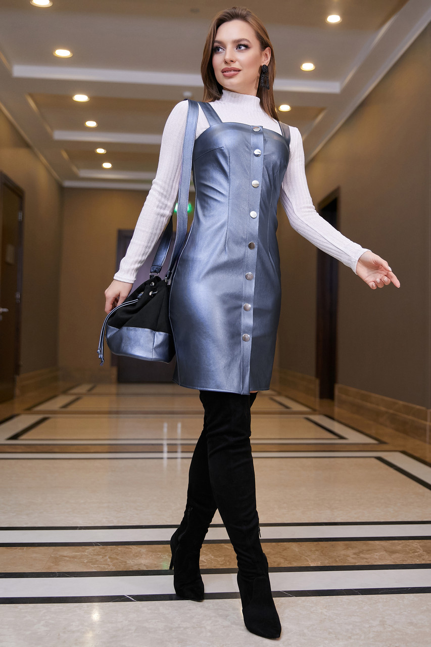 Деловое платье-сарафан, размеры от 42 до 48, эко-кожа, синий