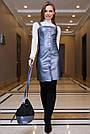 Деловое платье-сарафан, размеры от 42 до 48, эко-кожа, синий, фото 2