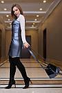 Кожаное платье сарафан синее женское, фото 3