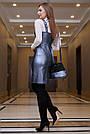 Деловое платье-сарафан, размеры от 42 до 48, эко-кожа, синий, фото 4