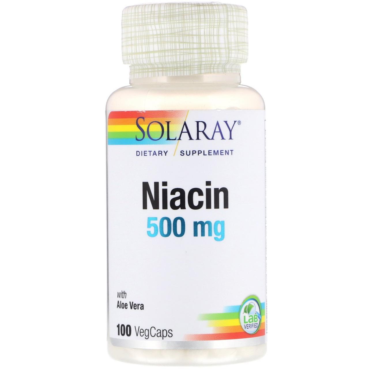 "Ниацин SOLARAY ""Niacin"" витамин В3 с алоэ вера, 500 мг (100 капсул)"