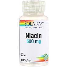 """Ніацин SOLARAY """"Niacin"""" вітамін В3 з алое віра, 500 мг (100 капсул)"""