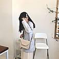 Сумка клатч гладка фактура з широким плечовим ремінцем #0485-Р Бежевий, фото 4