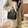 Сумка клатч гладка фактура з широким плечовим ремінцем #0485-Р Бежевий, фото 7