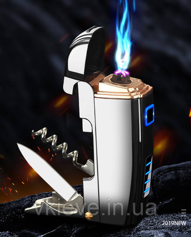 USB зажигалка электроимпульсная с ножиком, штопором и открывалкой (ЮСБ-129)