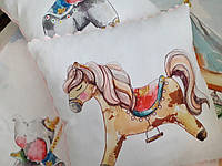 """Подушка в коляску или кроватку """"Лошадка"""" с плюшем"""