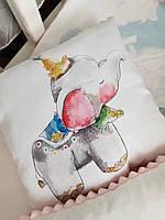 """Подушка в коляску или кроватку """"Слоненок"""" с плюшем"""