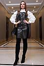 Офисное платье-сарафан эко-кожа чёрное, фото 2