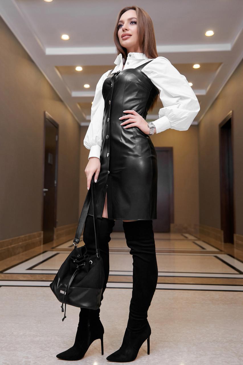 Офисное платье-сарафан эко-кожа чёрное