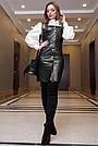 Офисное платье-сарафан эко-кожа чёрное, фото 4