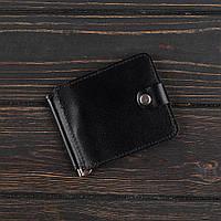 Зажим для денег v.1.0. Fisher Gifts STANDART черный (кожа)