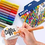 Маркери для дизайнерів, Набір різнокольорових акрилових маркерів 12 шт для малювання по тканині, склу, дереву, фото 3