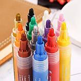 Маркери для дизайнерів, Набір різнокольорових акрилових маркерів 12 шт для малювання по тканині, склу, дереву, фото 8