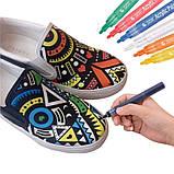 Маркери для дизайнерів, Набір різнокольорових акрилових маркерів 12 шт для малювання по тканині, склу, дереву, фото 9