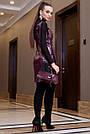 Молодёжное платье-сарафан эко-кожа, марсала, фото 4