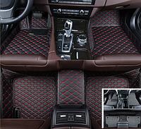 Автомобильные коврики 3D с бортиками кожаные 2в1 + коврик антигрязь для Volkswagen Passat B6 2005 - 2010