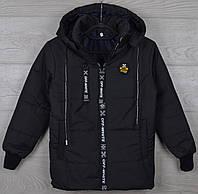 """Куртка подростковая демисезонная """"Off White реплика"""" 8-9-10-11-12 лет (128-152 см). Черная. Оптом., фото 1"""