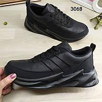 Мужские кроссовки в стиле Акулы черные на черной подошве