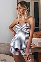 Полосатая пижама из сатина, женская XS S M L