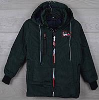 """Куртка подростковая демисезонная """"Tommy реплика"""" 8-9-10-11-12 лет (128-152 см). Темно-зеленая. Оптом., фото 1"""