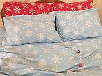 """Постельное белье """"Снежинки голубые, поплин Lux"""""""