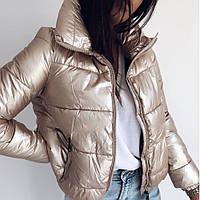 Куртка женская, теплая, короткая, плащевка на силиконе 250, высокий воротник, на молнии, молодежная, стильная, фото 1