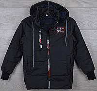 """Куртка подростковая демисезонная """"Tommy реплика"""" 8-9-10-11-12 лет (128-152 см). Черная. Оптом., фото 1"""