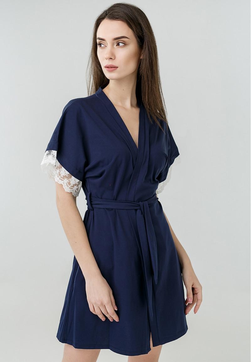 Женский халат с кружевом синего цвета Ora 100218