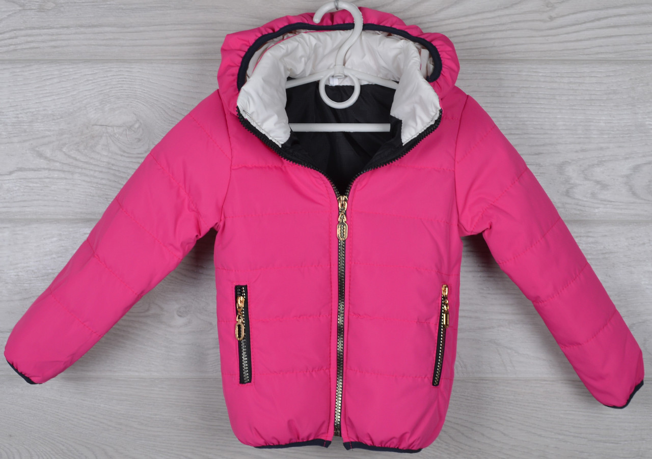 """Куртка детская демисезонная """"Kiss"""" 2-3-4-5-6 лет (92-116 см). Аппликация на спине! Малина. Оптом."""