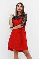 S, M, L / Коктейльне жіноче плаття з мереживом Adelin, червоний