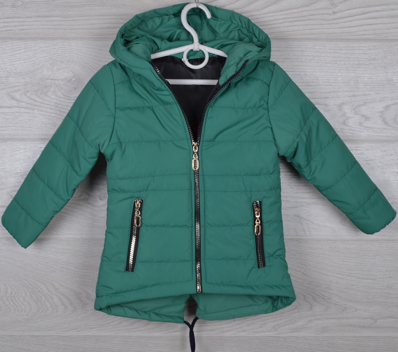 """Куртка детская демисезонная """"Paris"""" 2-3-4-5-6 лет (92-116 см). Аппликация на спине! Зеленая. Оптом."""