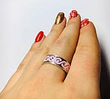 Кільце з рожевою емаллю і цирконом срібло Мейт, фото 3
