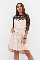 S, M, L / Коктейльне жіноче плаття з мереживом Adelin, бежевий
