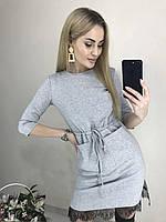 Красивое силуэтное платье из французского трикотажа с карманами и кружевом
