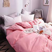 """Постельное белье """"Однотонный Пыльный розовый + Белоснежный, поплин Lux"""""""