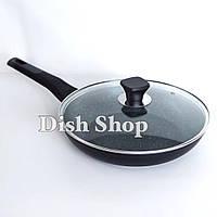 Сковорода со съемной ручкой с крышкой диаметром 28 см с мраморным антипригарным покрытием Benson