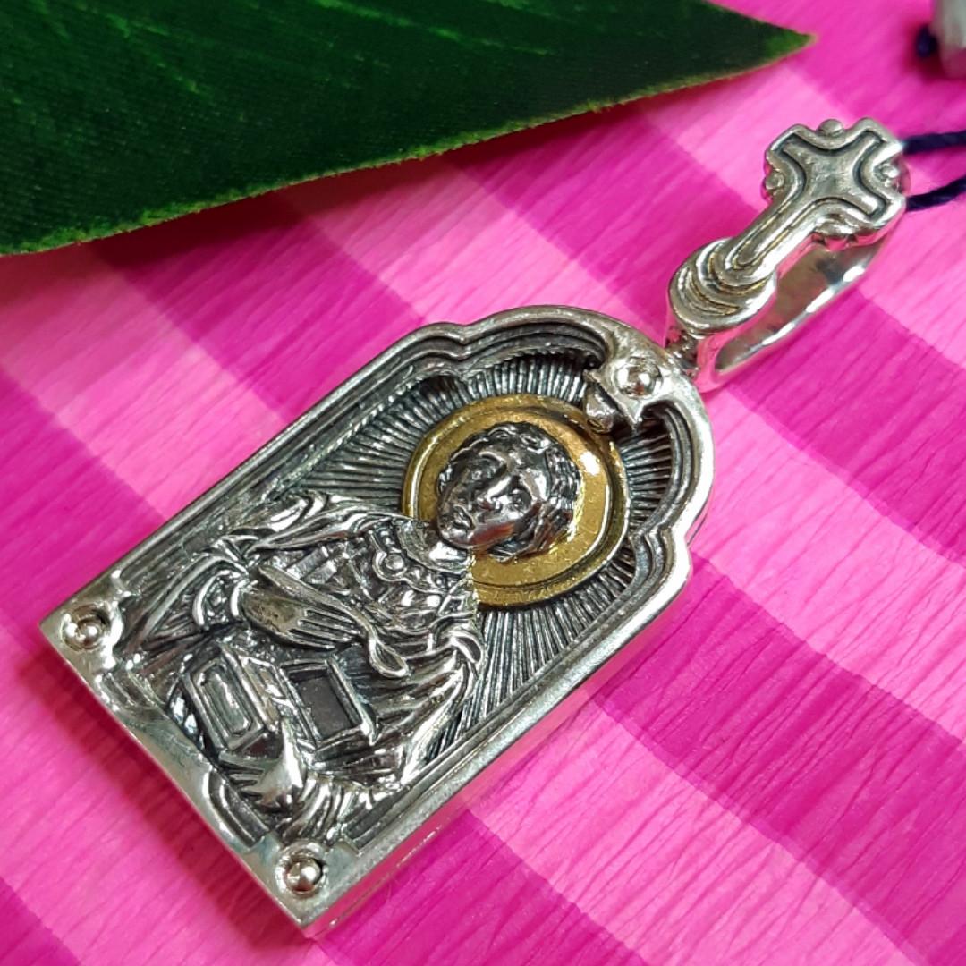 Срібний кулон Пантелеймон - Срібна ладанка Святий Пантелеймон Цілитель
