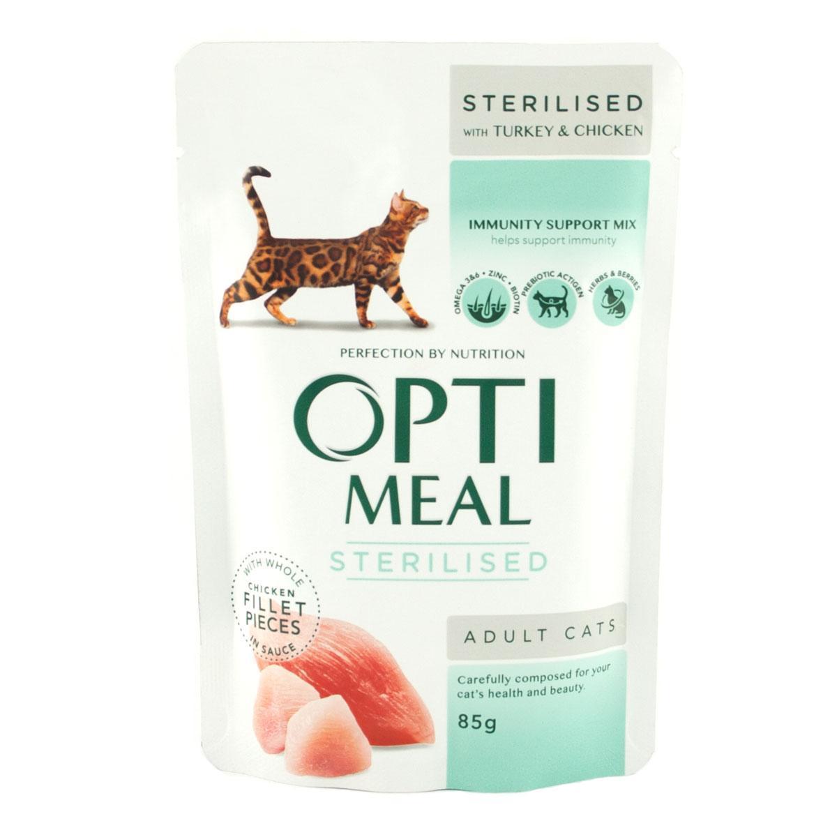 Влажный корм для кастрированных котов и стерилизованных кошек Optimeal Sterilised блок 12 шт.*85 г