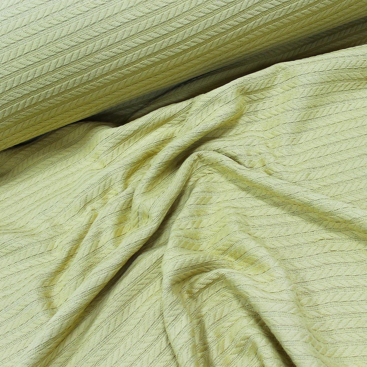 Вафельное полотно плетение косичка, цвет горчичный (шир. 2,30 м) ОТРЕЗ (0.5*2.3) УЦЕНКА