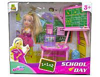 Кукла школа мебель учительница, школьная доска, парта, аксессуары, кукла маленькая 10 см