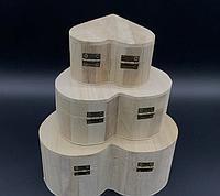 Шкатулка Сердце заготовка из дерева для декупажа и творчества 130х120х60 мм