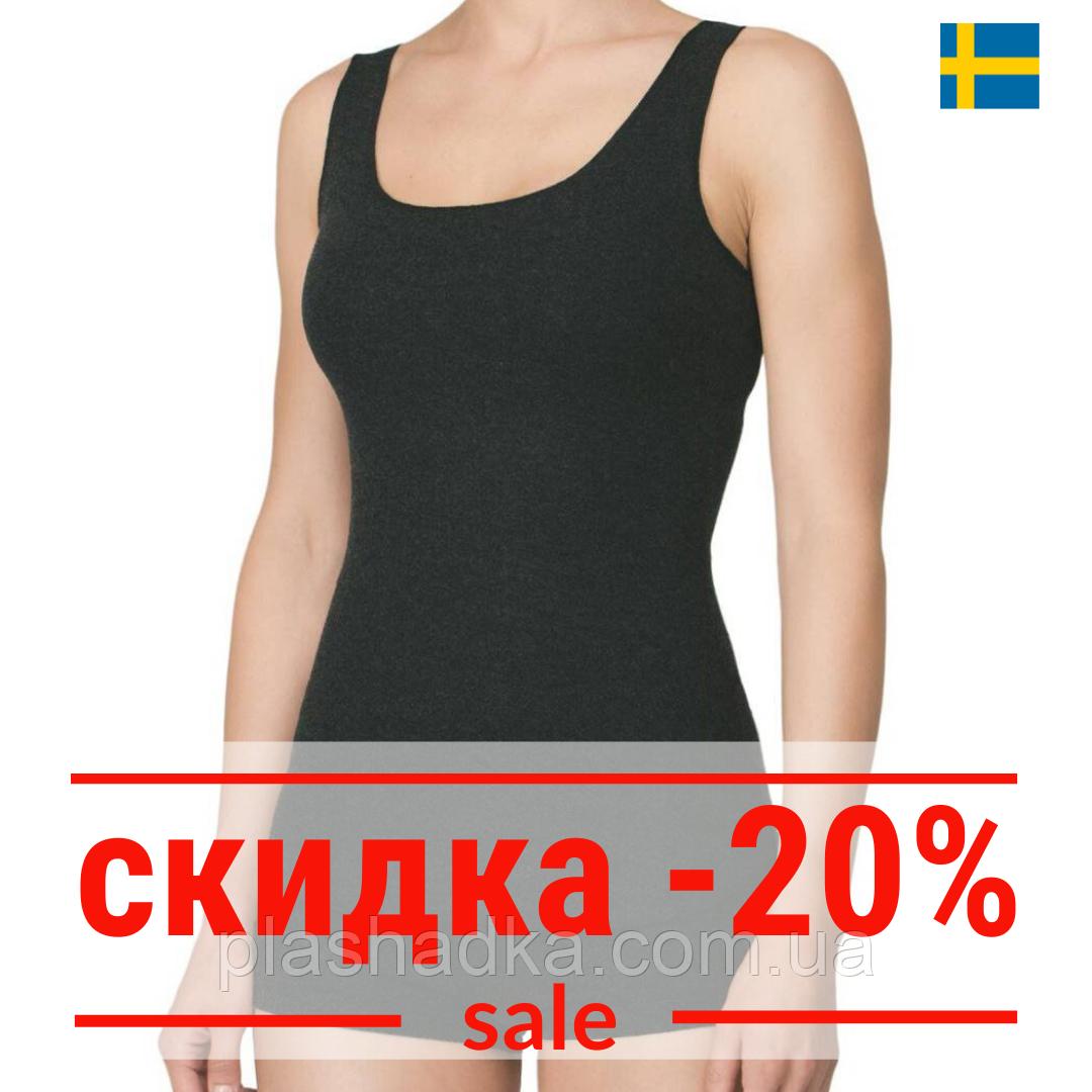 Термо-майка женская, термобелье 50% шерсти Hetta (Швеция) , цвет темно-серый