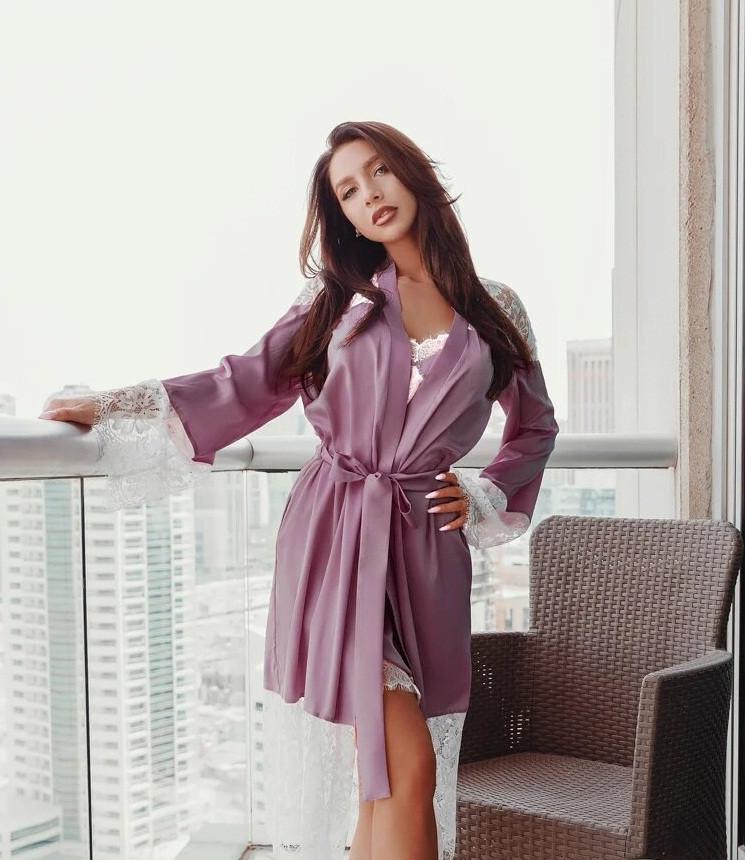 Нежный женский халат с кружевом XS S M L XL