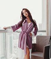 Нежный женский халат с кружевом XS S M L XL, фото 1