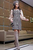 Платье-сарафан с открытыми плечами /черный в бело-кофейную клетку, S-XL, SEV-1111.3963/, фото 3