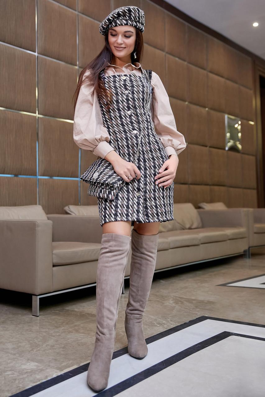 Платье-сарафан с открытыми плечами /черный в бело-кофейную клетку, S-XL, SEV-1111.3963/